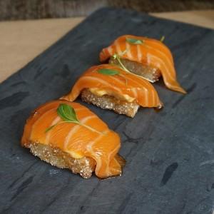 Salmon sashimi, crispy sushi rice, chipotle aioli