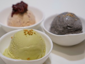 July Obsession Soba, black sesame, red bean ice creams